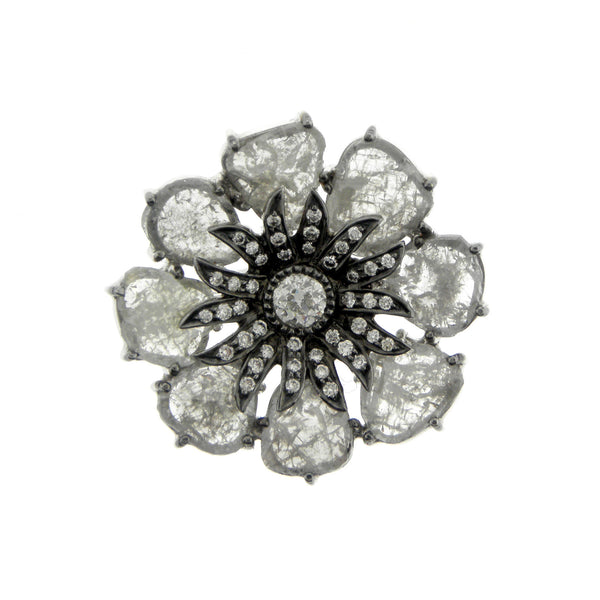 8.18ctw Rose Cut Diamond Flower Ring
