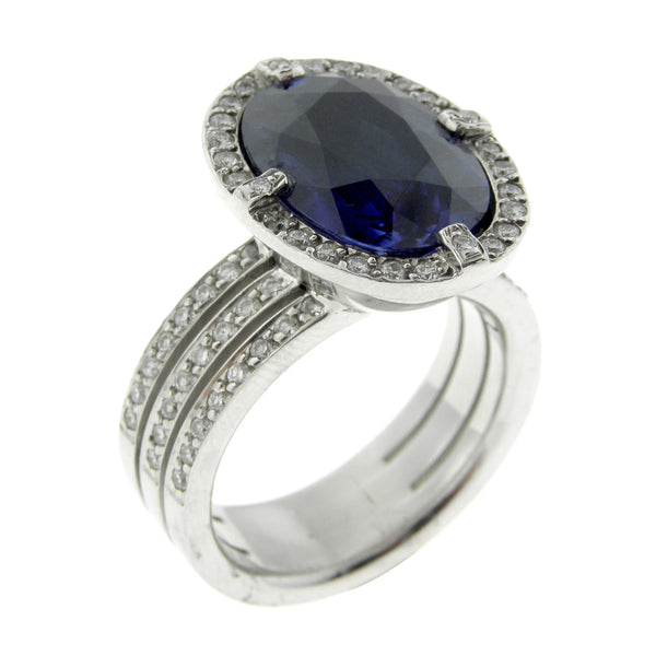 9.80ct Blue Sapphire and Diamond Ring