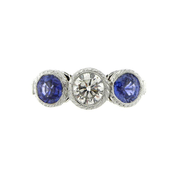 Blue Sapphire and Diamond Three Stone Ring