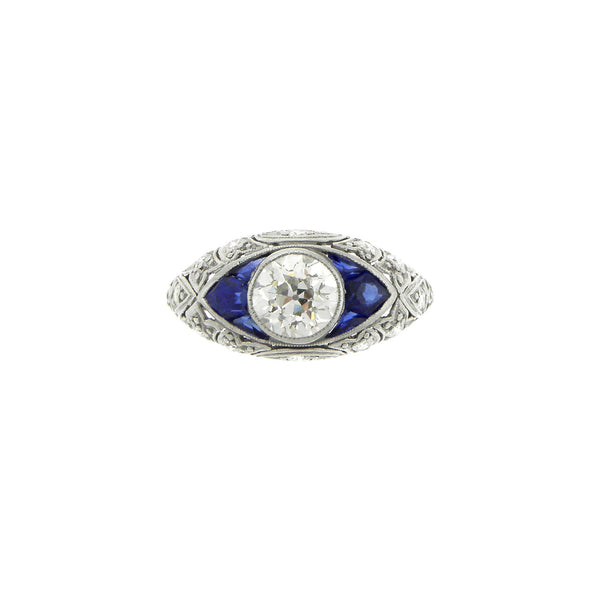 Deco Style Platinum, Diamond and Sapphire Ring
