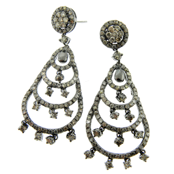 Brown Diamond Chandelier Earrings