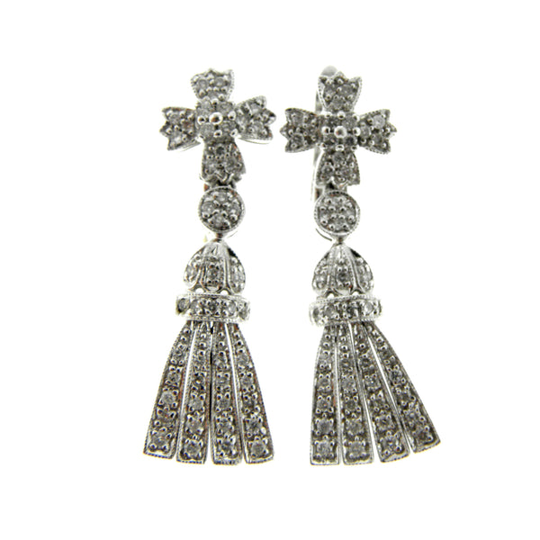 Diamond Cross & Tassel Earrings
