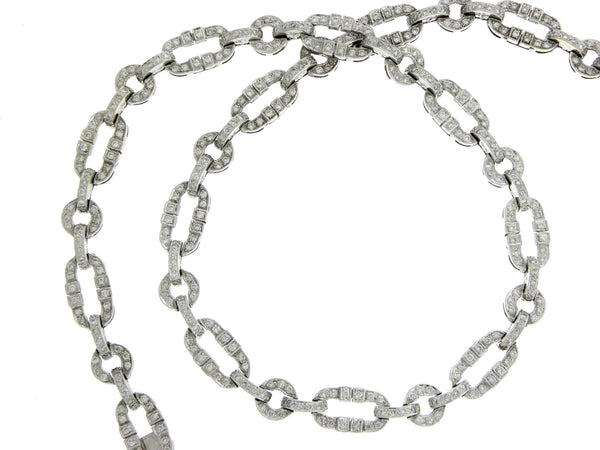 White Gold & Diamond Long and Short Link Necklace