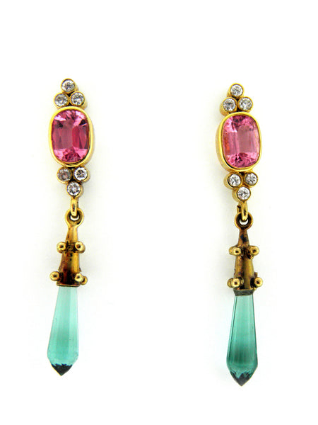 Paula Crevoshay Pink & Green Tourmaline Drop Earrings