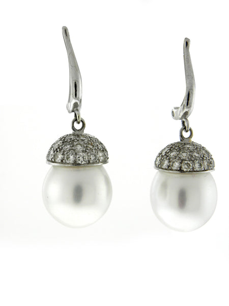 Large White Pearl & Diamond Earrings