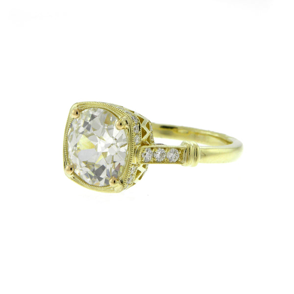 Custom Made 2.62ct. Old European Cut Diamond Yellow Gold Ring