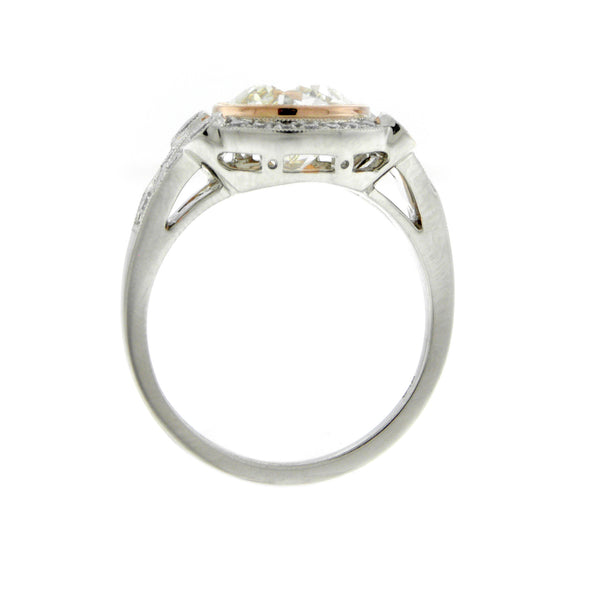 Custom Made 2.23ct. Old European Cut Diamond Rose Gold & Platinum Ring