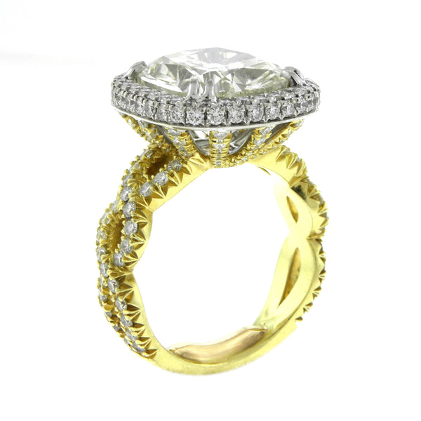 Custom Made 10 ct. Cushion Cut Diamond Yellow Gold Ring