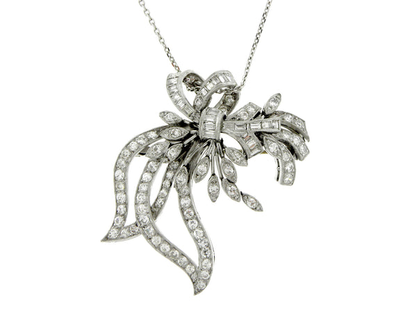 Platinum & Diamond Garland of Ribbons and Bows Pendant Brooch