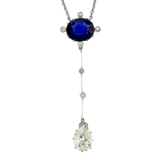 Edwardian Estate Platinum Diamond & Sapphire Drop Necklace