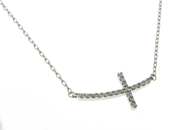 14K White Gold & Diamonds Tiny Cross Necklace