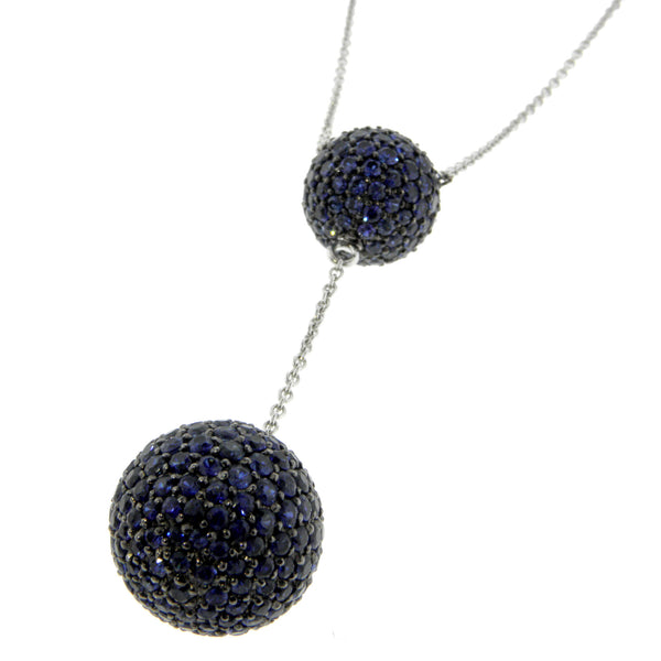 18K White Gold & Blue Sapphire Ball Drop Necklace