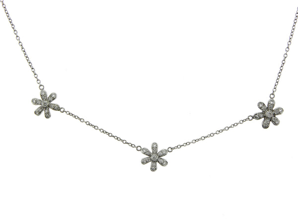 18K White Gold & Diamonds Dainty Daisy Dotted Necklace