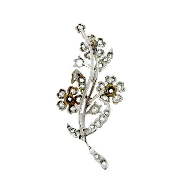 Antique 14K Gold Diamond Floral Brooch