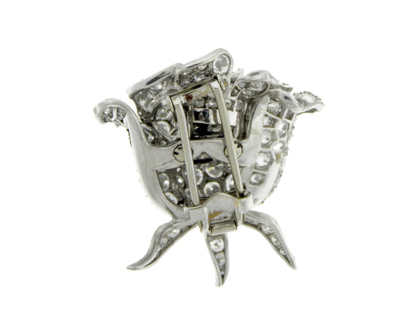 Platinum Diamond Rosebud Lapel Pin Brooch