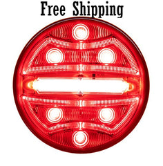 "4"" Round Red STT with Light Strip LED Tubes"