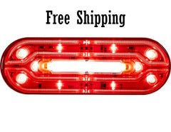 "6"" Oval Red STT with Light Strip LED Tubes"