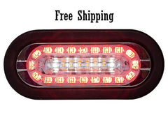 "6"" Oval LED Combo STT, Backup, and Amber Strobe Light"