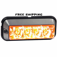 "4-7/8"" Rec. Strobe Light, 4-LED Amber, Buyers #8891104"