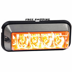 "4-7/8"" Rec. Marker & Strobe Light, 4-LED. Available in AMBER, CLEAR & RED"