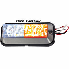 "4-7/8"" Rec. Strobe Light, 4-LED Amber/Clear, Buyers #8891105"