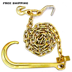 "G70 5/16"" Chain with15"" J, Datsun & Grab Hook Set of 2 6',8',10'"