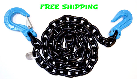 "G100 3/8"" Chain with Slip Hook and Cradle Grab, 10',15' and 20'"