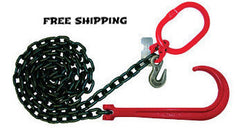 "3/8"" Grade 80 Chain with 15"" Forged J Hook on one end, Master Link & Grab Hook on other end."