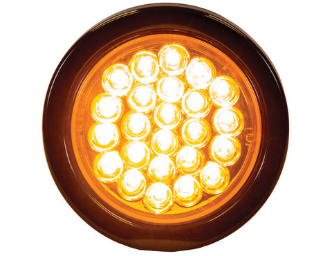 "4"" Amber Round LED Strobe Light"