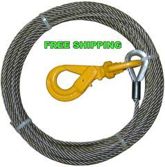 "7/16"" Steel Core, Winch Cable,  Self Locking Swivel Hook"
