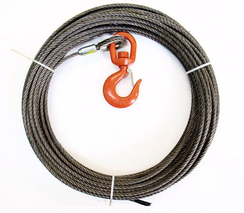 "1/2"" Steel Core, Winch Cable, Swivel Hook"