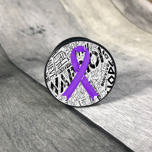 Awareness Ribbon phone grips - word background phone grip The Teal Bandit purple white