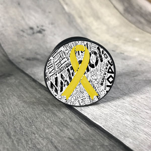 Awareness Ribbon phone grips - word background phone grip The Teal Bandit yellow white