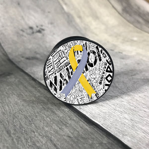 Awareness Ribbon phone grips - word background phone grip The Teal Bandit yellow/grey white