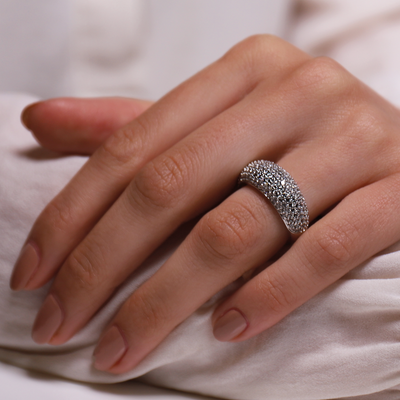 Domed Pave Crystal Silver Milano Ring