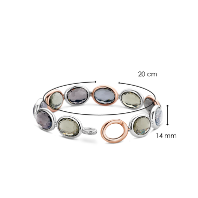 Silver & Rose Gold Green and Grey Oval Crystal Milano Bracelet