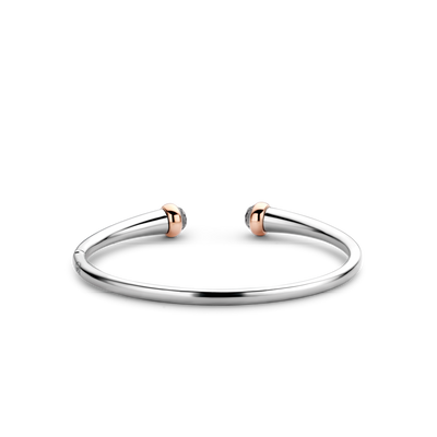 Silver & Rose Gold Grey Stone Open Cuff Milano Bracelet