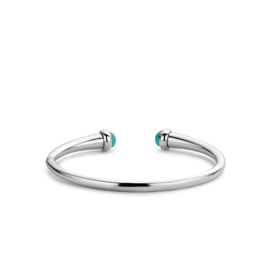 Turquoise and Silver Open Milano Cuff Bracelet