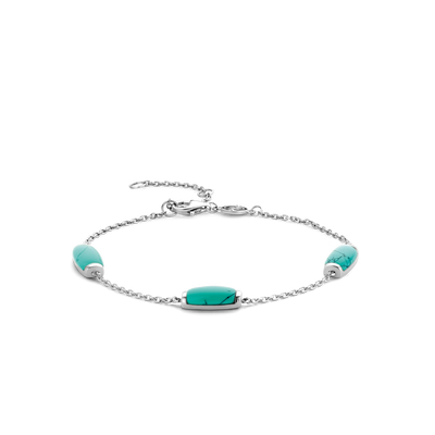 Turquoise Milano Station Bracelet on Silver Chain