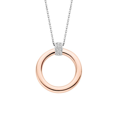 Rose Gold Open Circle Milano Pendant Necklace