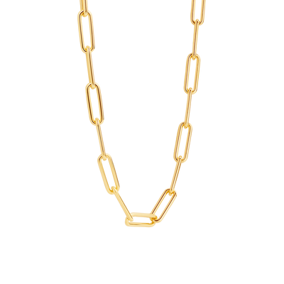 Milano Thick Rectangle Link Chain Necklace in Gold