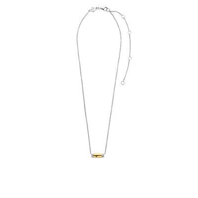 Gold & Silver Milano Rectangle Bar Necklace with Crystal
