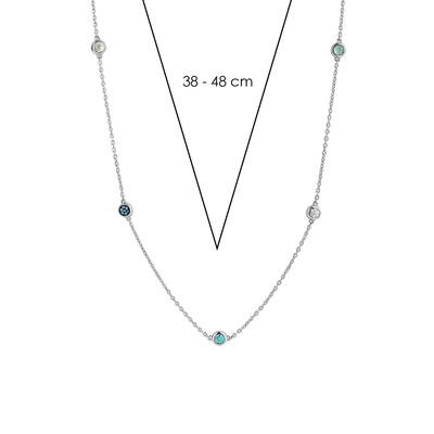 Ocean Blue & Crystal Milano Station Necklace in Silver