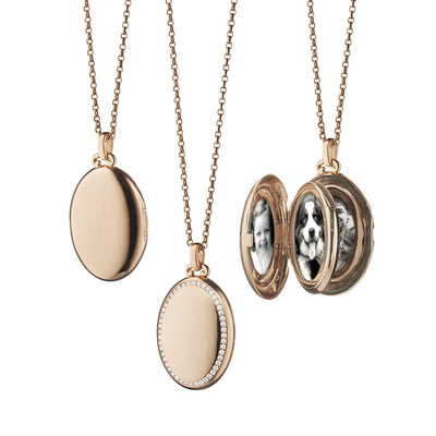 4-Image Oval Locket with Diamond Border in 18k Rose Gold