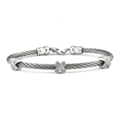 Bling! Diamond X Cable Bangle Bracelet