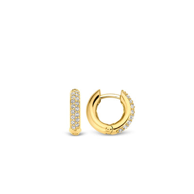 Double Row Milano Crystal Gold Huggy Hoop Earring