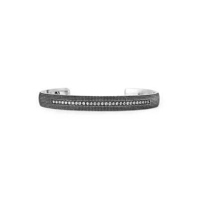 Suneera Textured Oxidized Silver Bracelet with Row of Diamonds