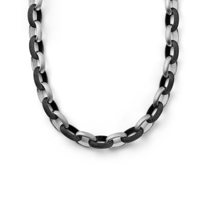 Suneera Vintage Silver & Oxidized Textured Link Necklace
