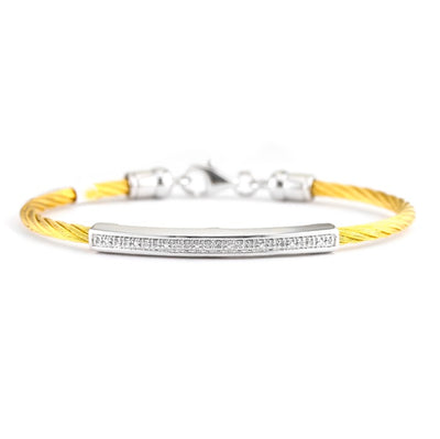 Bling! Diamond Bar Cable Bangle Bracelet
