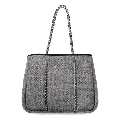 Annabel Ingall Neoprene Tote Bag in Dark Heather with Charcoal Straps